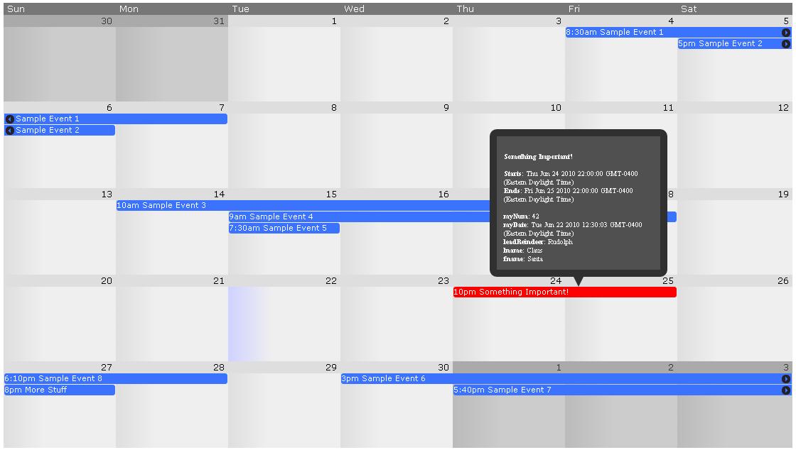 Frontier JQuery Calendar