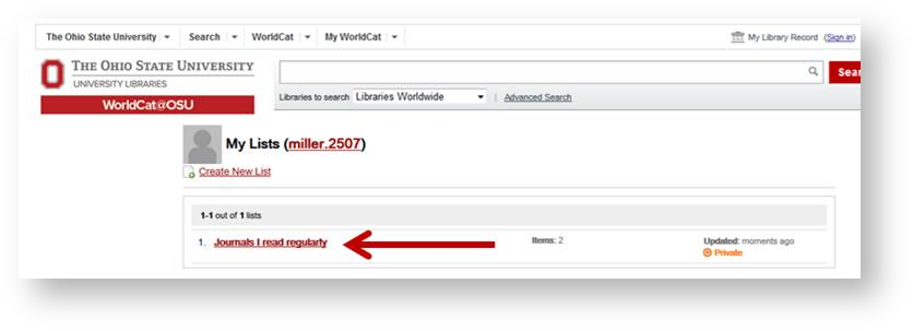 How to Create Lists in WorldCat - IT Help - OSU Libraries