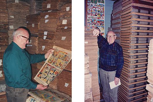 Two photographs of Bill Blackbeard in the San Francisco Academy of Comic Art