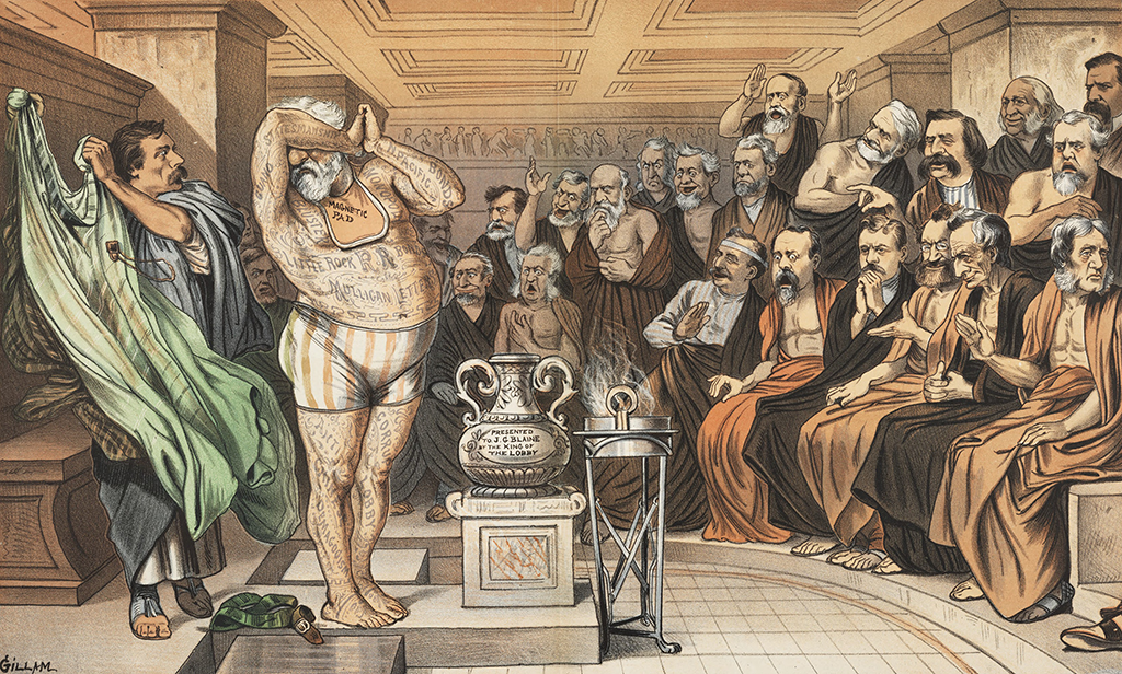 Cartoon of Phryne before the Chicago Tribunal