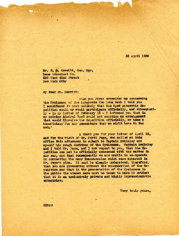 Railey to Merrit - 23 April, 1930