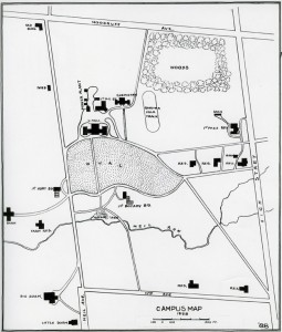Campus Map from 1888, drawn by Joseph Bradford