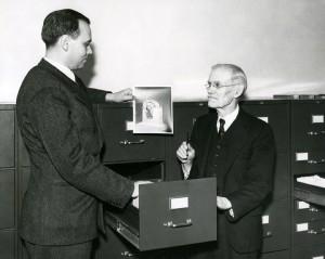 Joseph Bradford and F.W. Davis in Photo History vault, 1940