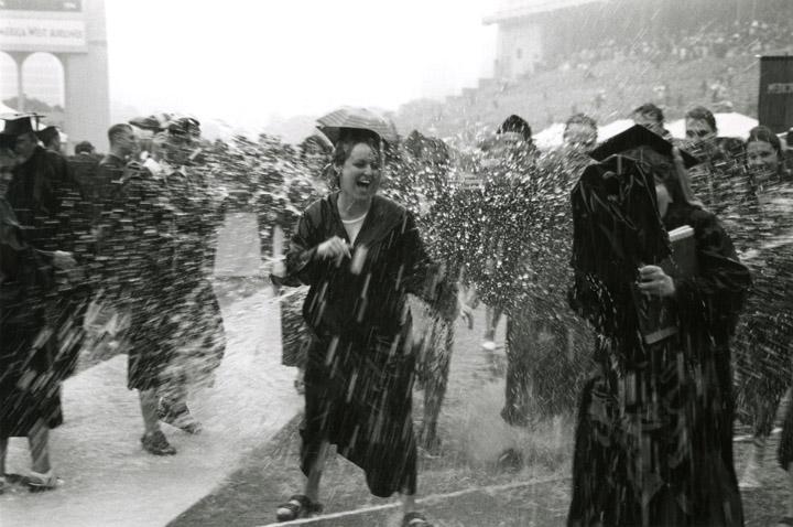 Rainy graduation in 1997.