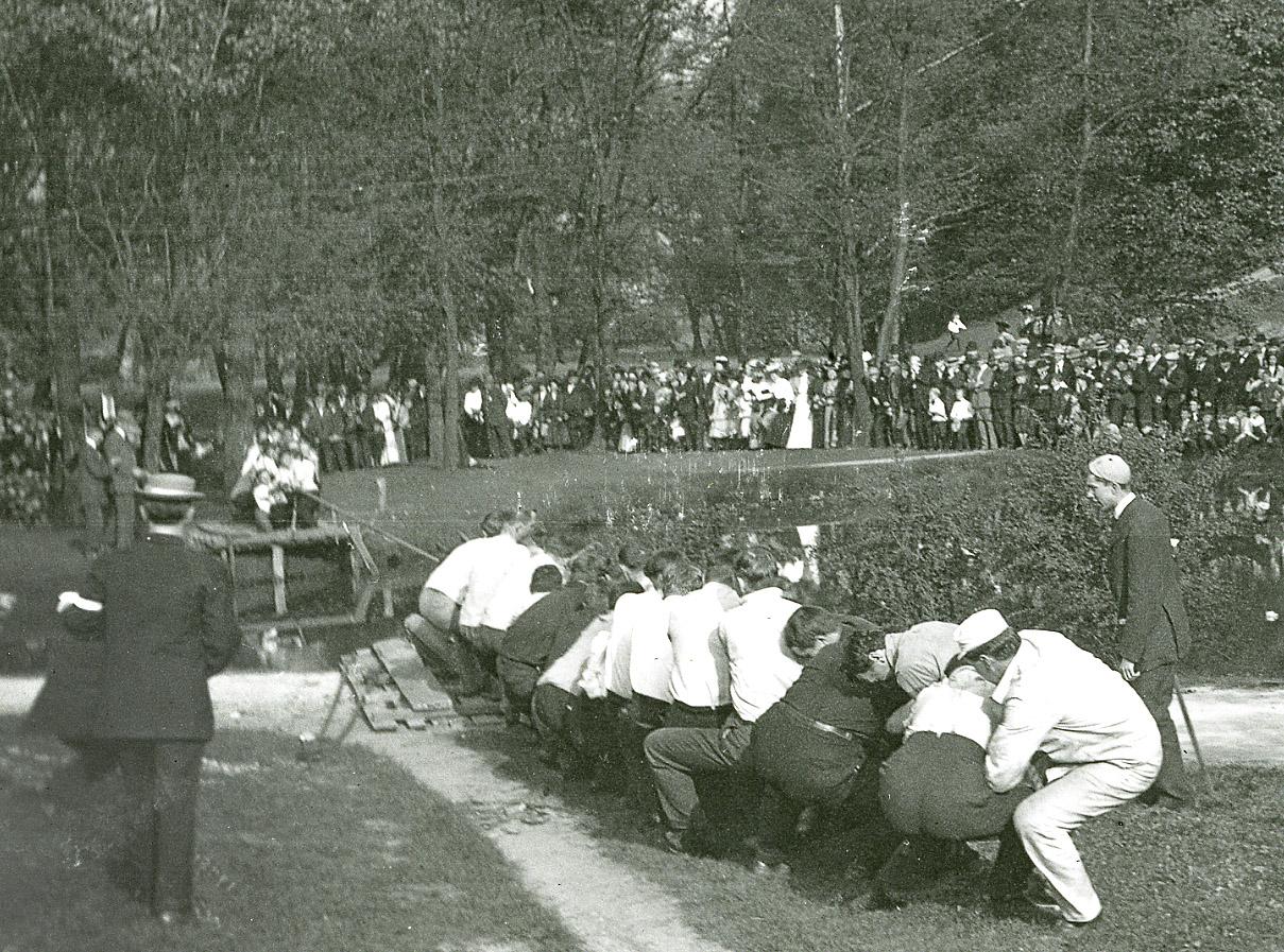 Tug of War across Mirror Lake, 1910s