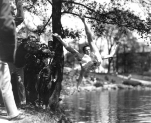 A freshman is tossed into Mirror Lake, 1926