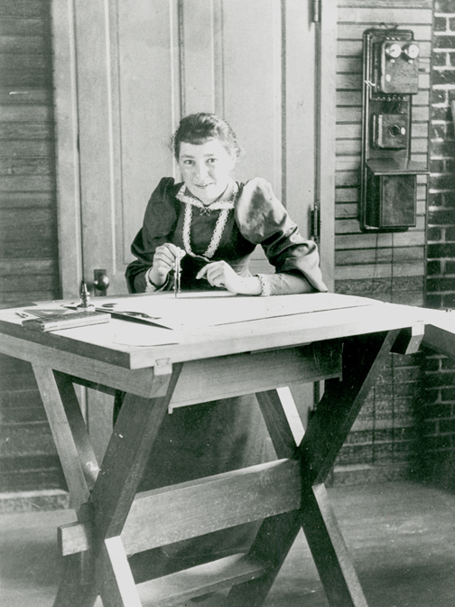 Bertha Lamme at the drawing table, 1892