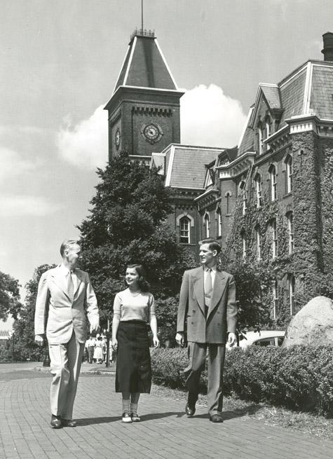 Dean Joseph Park (left), with students, 1951