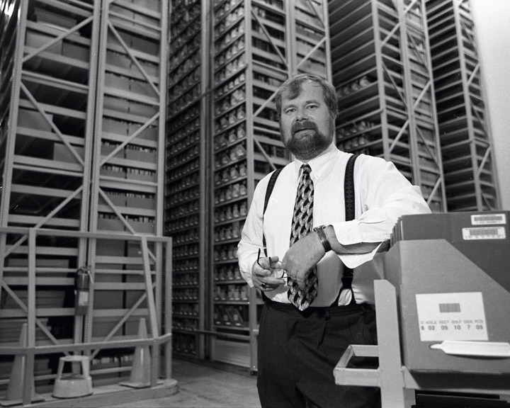 Goerler in the University Archives/Book Depository stacks, 1998