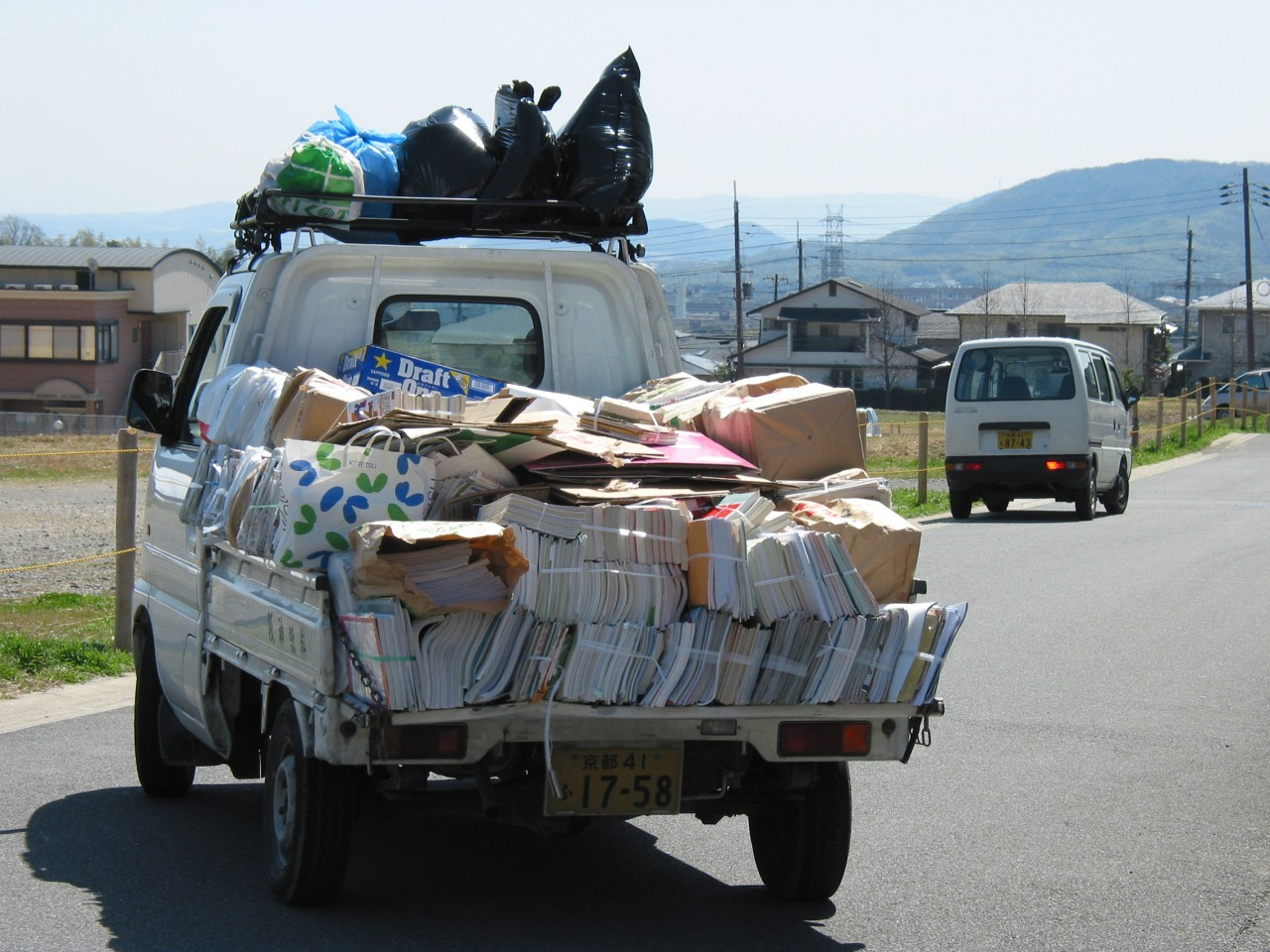 Recycling truck full of manga in Maureen's neighborhood in Kyoto in 2004