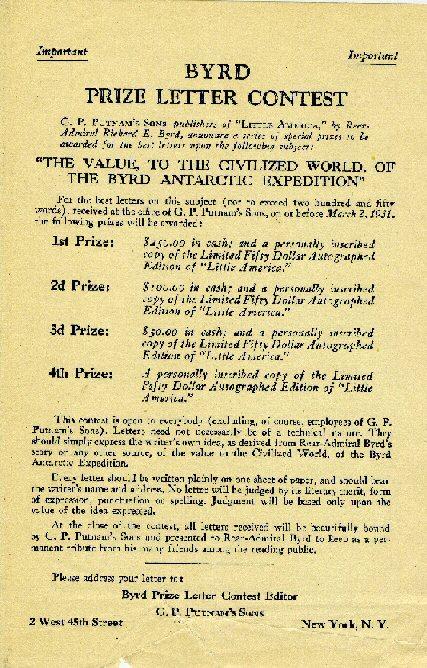 Flier, Byrd Prize Letter Contest, 1930. Richard E. Byrd Papers, #4386.