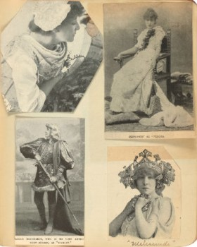 Sarah Bernhardt in various roles, from the Theatre Research Institute's Actress Scrapbooks