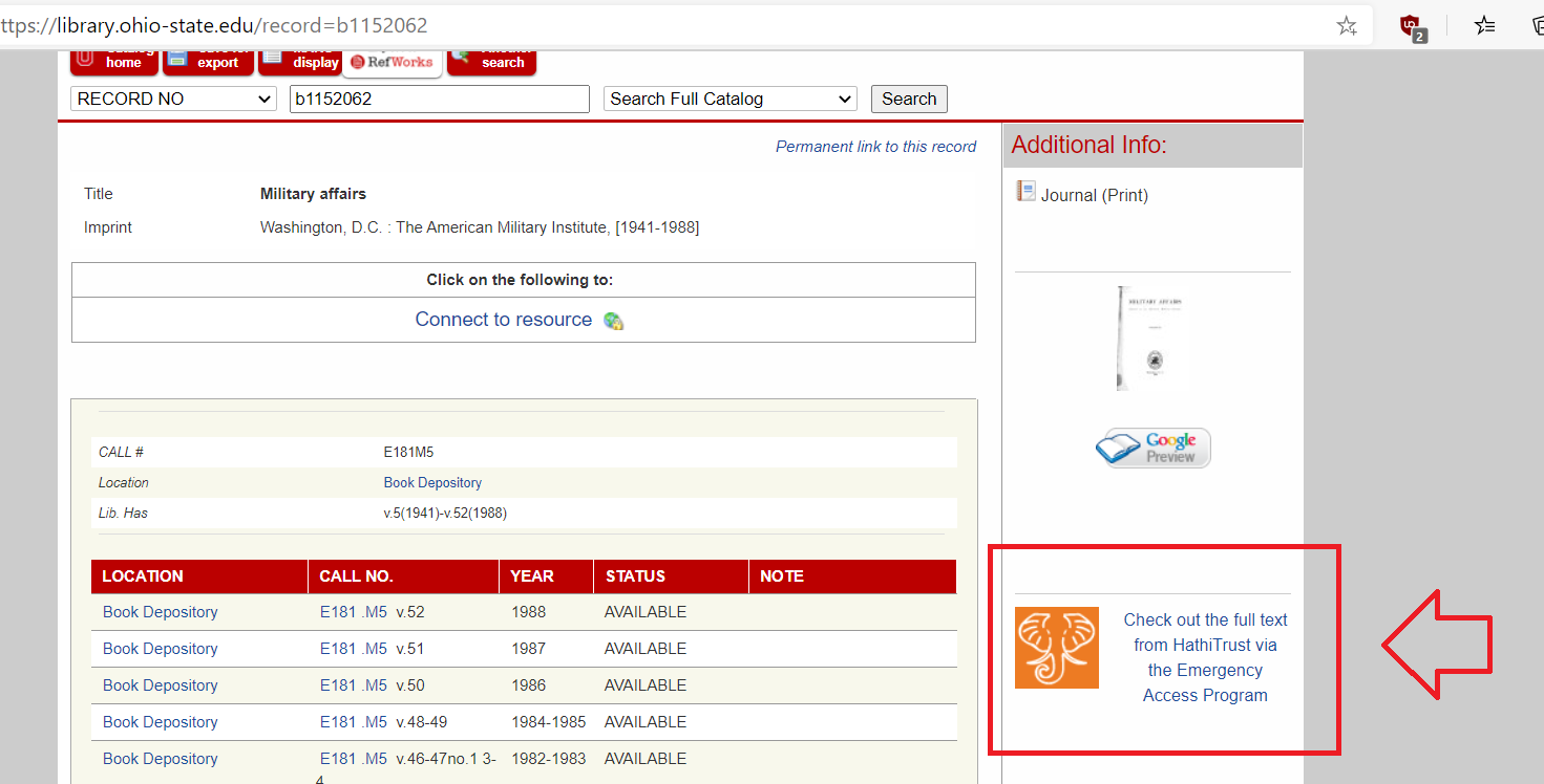 Example of the HathiTrust Links displaying in the catalog
