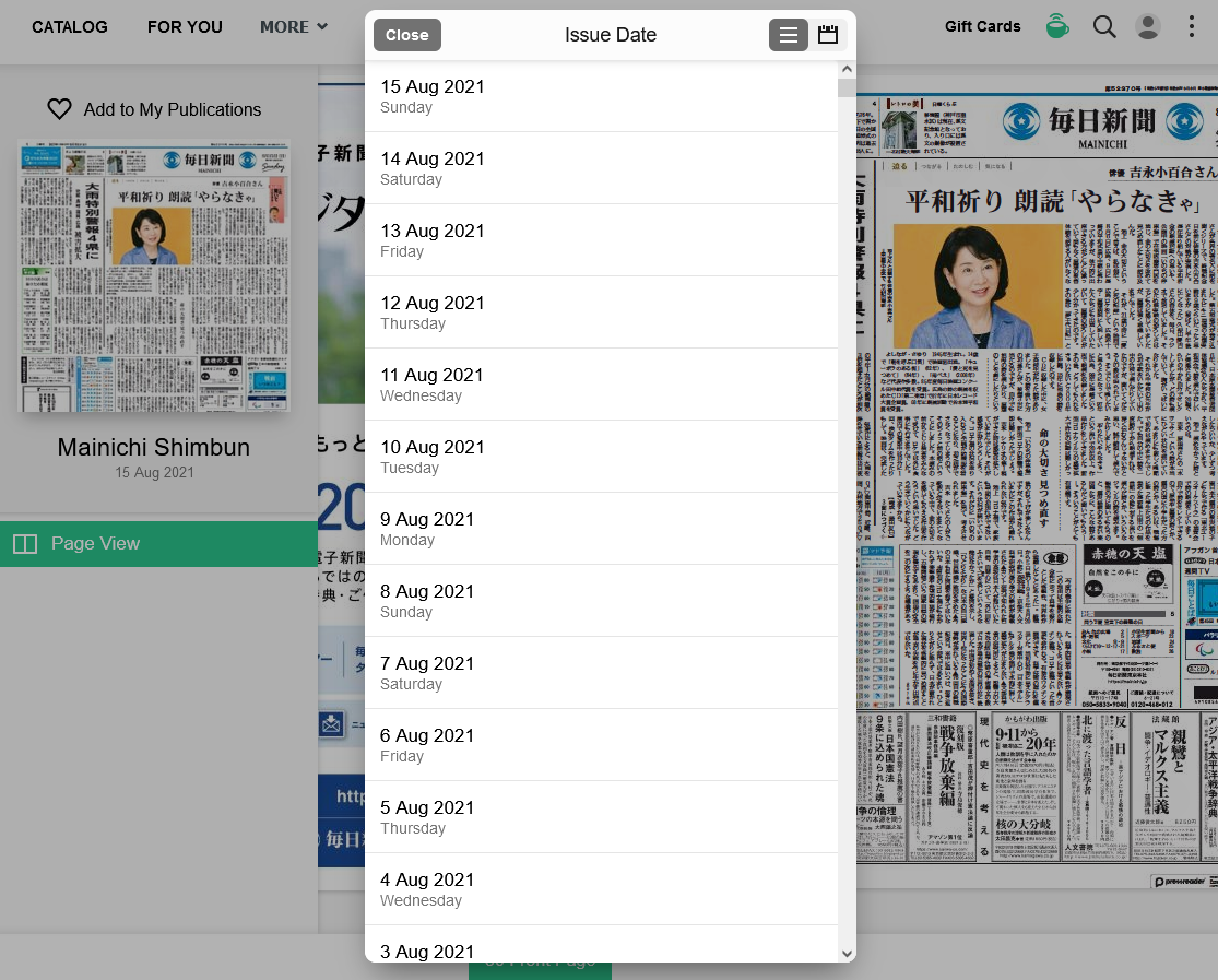 Selecting an issue on PressReader
