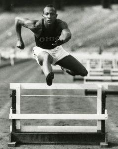 Jesse Owens practices in Ohio Stadium, 1935.