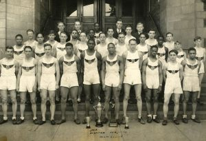 Jesse Owens' high school team. Owens is standing in the front row, fifth from the right. Photo date unknown.