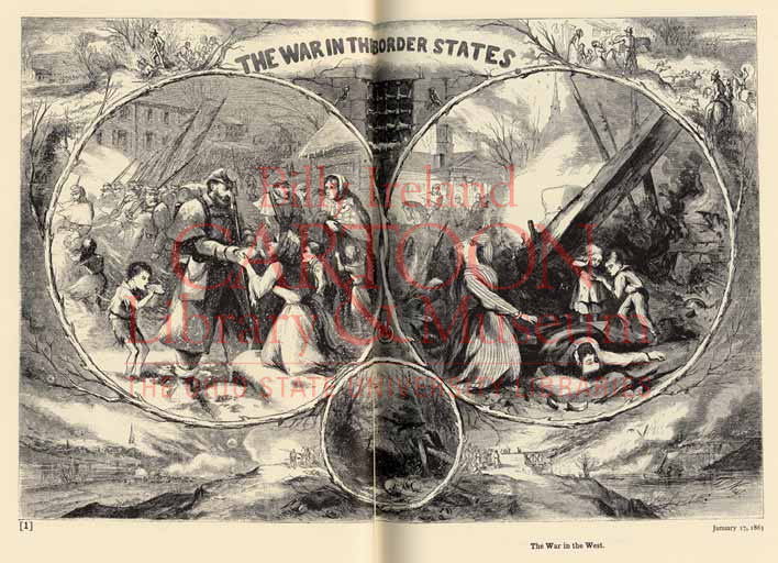 """Figure 1 """"The War in the West,"""" Harper's Weekly, January 17, 1863, pages 40-41."""