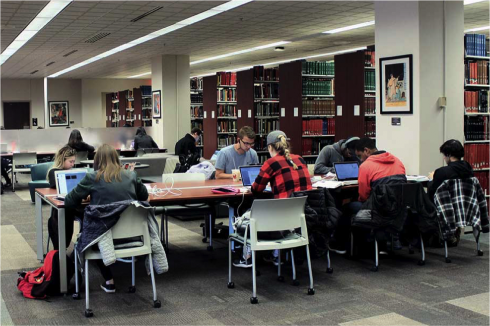 Study space at the Music & Dance Library.