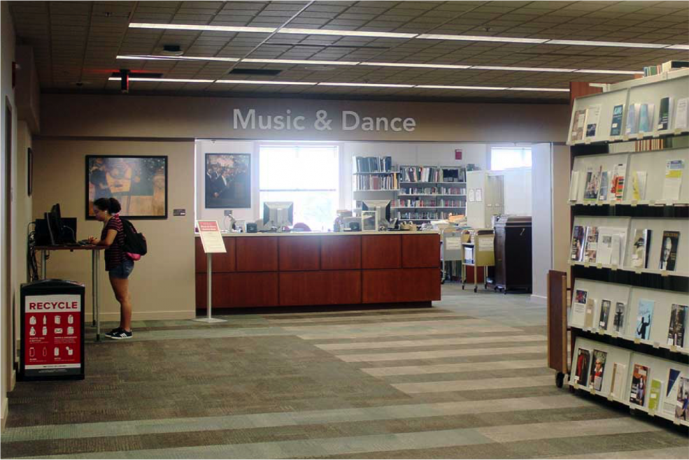 The circulation desk of the Music & Dance Library.