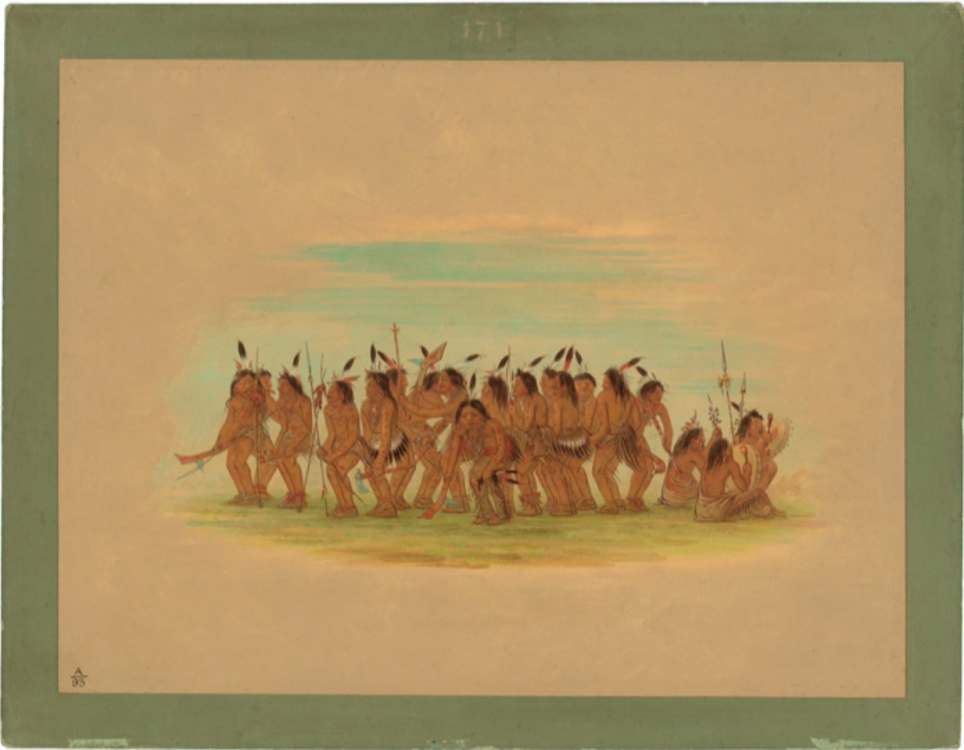 Native American ceremonial dancers painted by George Catlin
