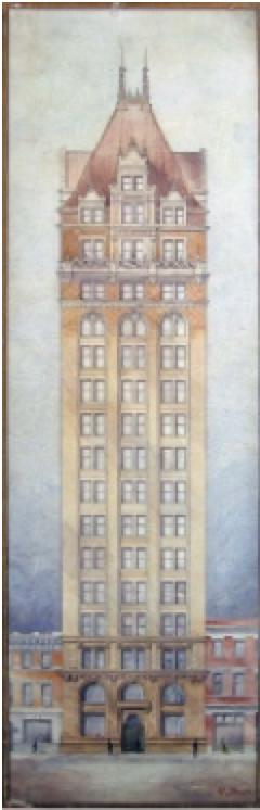 Albrecht architectural sketch of a tall building