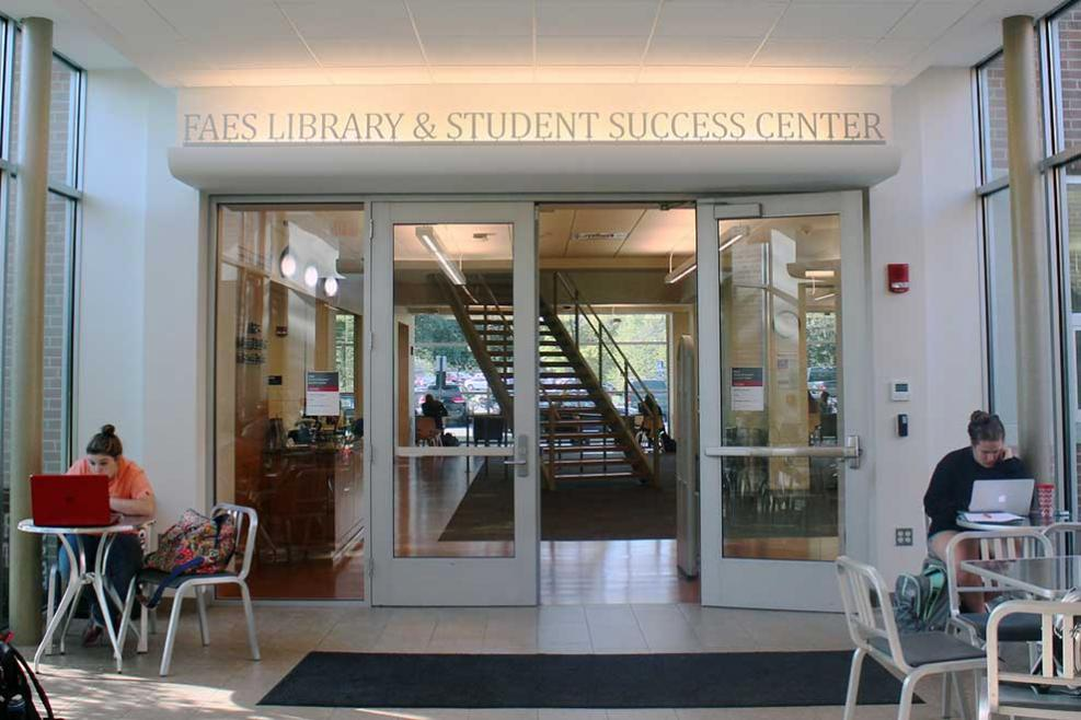 Entrance to the FAES Library & Student Success Center