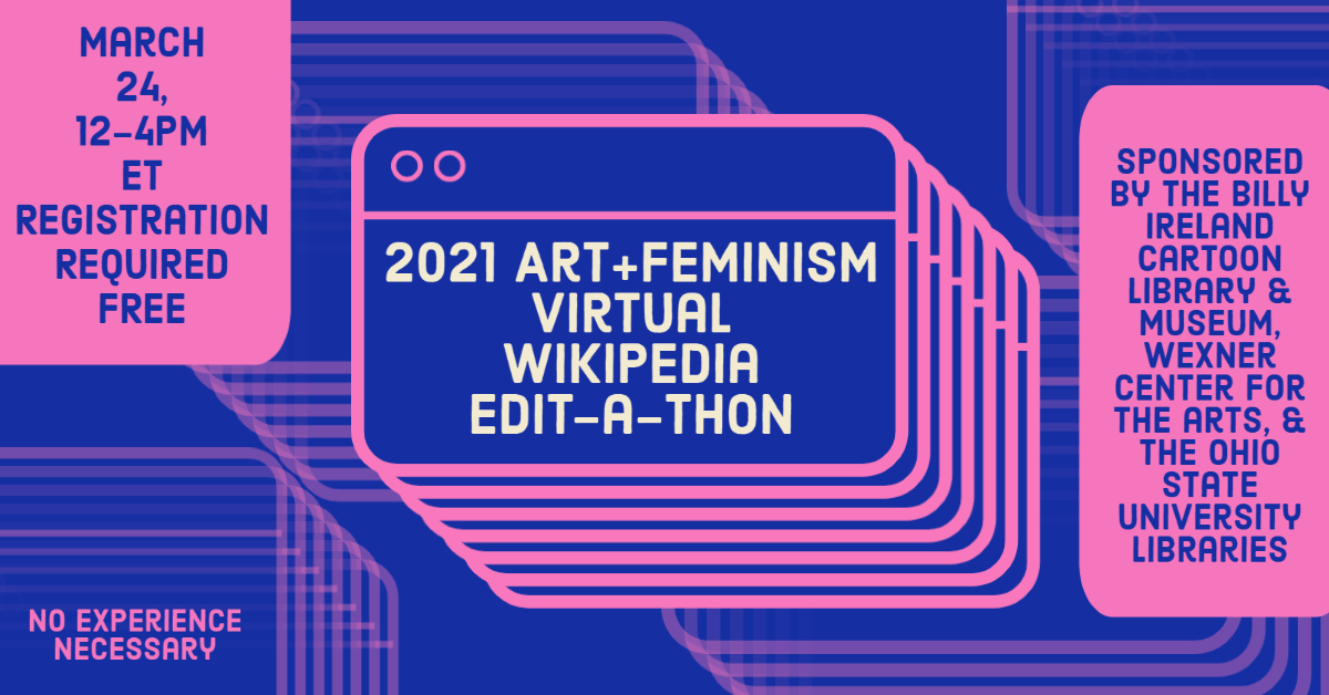 Event graphic for the 2021 virtual edit-a-thon at Ohio State, blue and pink color scheme