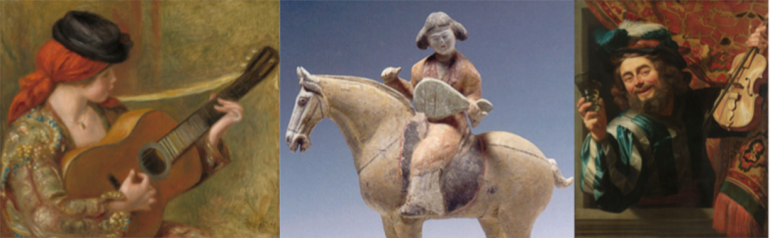 Paintings of a woman playing guitar and of a merry fiddler and a Chinese sculpture of a man of horseback playing a stringed instrument