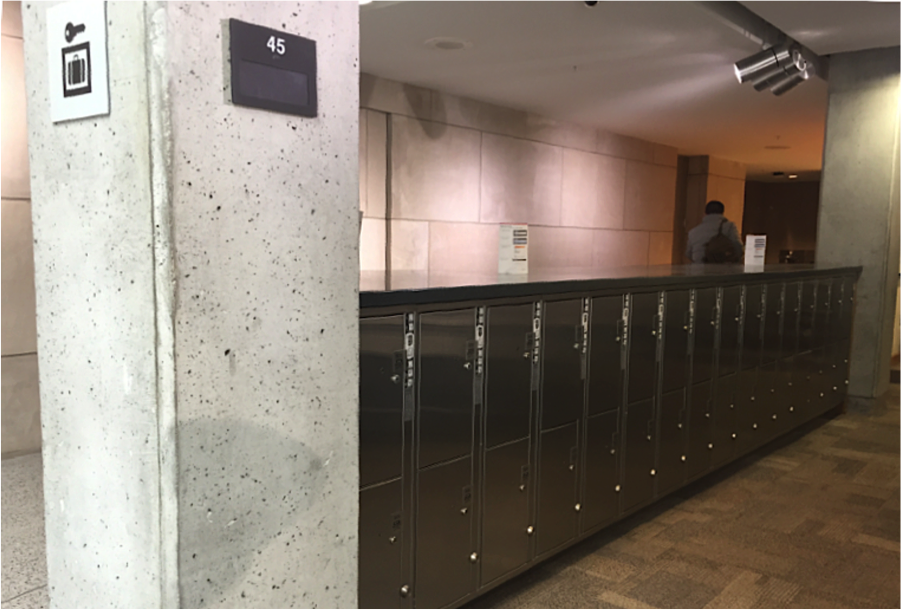 Daily lockers on the ground floor of Thompson Library.