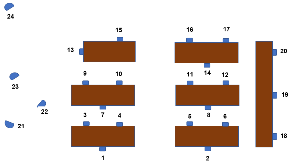 Geology Library Seat Map with numbered seats