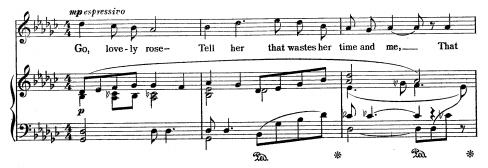 """Snippet of """"Go, Lovely Rose"""" sheet music"""