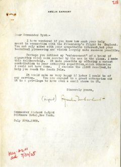 A letter to Admiral Byrd from Amelia Earhart