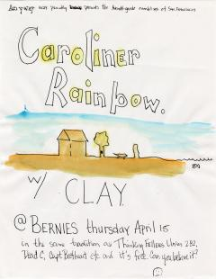 """A hand-drawn promotional poster for a music group called """"Caroliner Rainbow"""""""